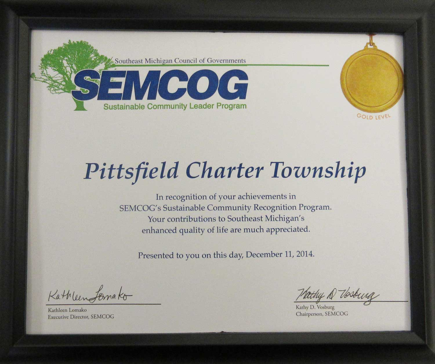 SEMCOG sustainability award